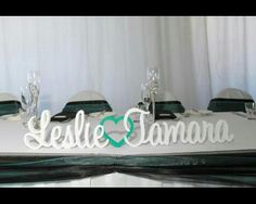 * Personalised wood plaque with bride & grooms names for bridal table