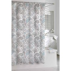 Give your bathroom an instant update with this paisley-patterned shower curtain. Designed to add a traditional element to your bathroom, this shower curtain has an all-over paisley pattern in soft neu Beautiful Bathroom Decor, Colorful Curtains, Fabric Shower Curtains, Gray Shower Curtains, Printed Shower Curtain, Curtains, Bathroom Shower, Bathroom Decor, Beautiful Bathrooms