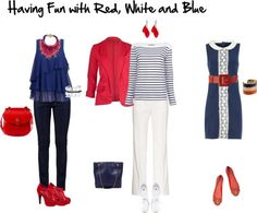 """""""Time for the Red, White, and Blue"""" -- How to dress in those colors and the reasons, based on the color wheel, why they work together.  Lists other """"triadic based schemes that work really well."""""""