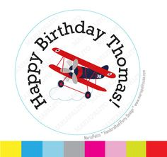 New to Mariapalito on Etsy: BiPlane stickers Party Personalized PRINTED round StickersHappy Birthday Plane tags Labels or Envelope Seals  A930 (6.00 USD)