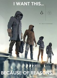 Assassins Creed Clothing - I love the lines and how they brought in the elements of the various characters.