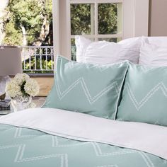 Shop green chevron bedding from Crane & Canopy. Transform your bedroom with the sophisticated, playful Cora Green duvet cover. Chevron Bedding, Neutral Bedding, Green Duvet Covers, Hotel Collection Bedding, Bed Springs, Ikea Bed, Simple Bed, Diy Bed, Bedroom Decor