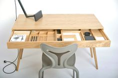 wooden desk by roman shpelyk, via Behance