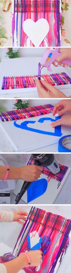 Melted Crayon Art   23 DIY Valentines Crafts for Boyfriend   DIY Birthday Gifts for Him