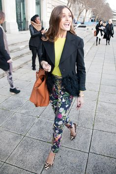 Botanical pattern pants and neon yellow top