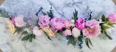 Bright pink, fuschia, blush and  peach silk large bloom peonies, English roses and ranunculus  by Iheartbinaandjess