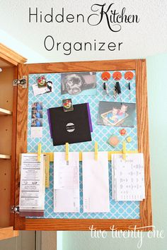 """Idea for a """"Family Command Center"""". Step-by-step instructions for turning the inside of a kitchen cabinet into a neat and organized family command center Do It Yourself Organization, Kitchen Organization, Organization Hacks, Organizing Tips, Paperwork Organization, Organizing Clutter, Organization Station, Family Command Center, Command Centers"""