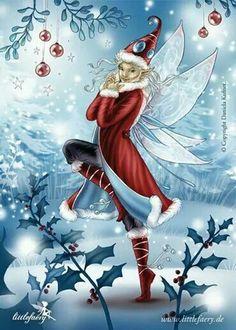Christmas Fairy Art by Daniela Kufner Christmas Fairy, Christmas Scenes, Christmas Pictures, Vintage Christmas, Xmas, Holiday Pics, Merry Christmas, Fairy Land, Fairy Tales