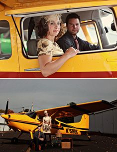 A Vintage Travel Inspired Anniversary Shoot - with a Yellow Airplane! Engagement Couple, Engagement Photos, Vintage Toys 80s, Airplane Wedding, Travel Inspiration, Engagement Inspiration, Wedding Trends, Wedding Blog, Fall Wedding