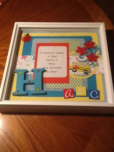 Teacher Christmas gift......scrapbook shadow box for room