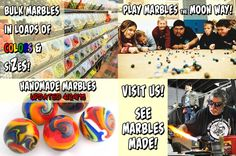 Tons of marbles to buy plus watch them be made - Moon Marble Company