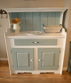 Farmhouse Aqua and White Dresser/ Buffet/Hutch Just refinished, distressed finish. Chalk Paint. Tiled top. Can be used as a coffee station or Bar. Vintage Piece. Shabby Chic. Beachy, coastal decor. Dr