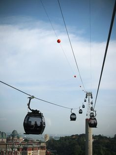 The cable cars to Sentosa Island, Singapore. I was scarred to ride these carts but it was worth it. http://www.trish120.wordpress.com
