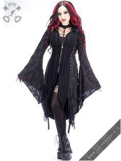 Misanthrope - Punk Rave sweater-jacket M-025 | Post Apocalyptic Gothic fashion black jacket for women. | Gothic, Steampunk, Metal, Punk, Lolita, Fetish fashion style e-shop. Punk Rave, RQ-BL, Fantasmagoria clothing brands #womensGothicjacket