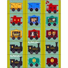 """Children Choo Choo Applique"" HOORAY! The circus has come to town! Includes #MachineApplique engines, assorted styles of train cars, some filled with circus animals such as an elephant, zebra, lion, tiger, and alligator too. Chug chug, chugga chugga your way over to get your set today! Wooooo-Wooooo!"