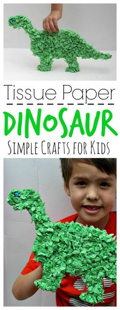 This easy to make Tissue Paper Dinosaur is perfect for little hands and is a great way to encourage creativity!