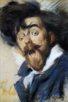 Giacomo Balla, Autosmorfia, 1900, collezione privata, pastello su carta applicata su cartone, cm 55 x 35,5 #selfportrait