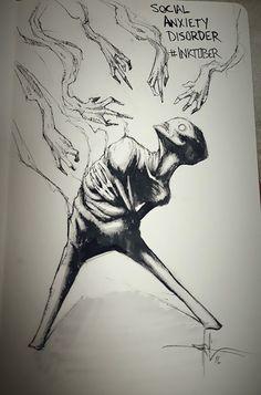 Ansia sociale illustrata a penna