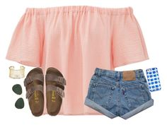 """""""Yay"""" by kvonhoffmann ❤ liked on Polyvore featuring Rebecca Taylor, Birkenstock, Kendra Scott, Ray-Ban and Kate Spade"""
