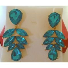 Leaf Drop earrings posts, teal marquise & teardrop stones Listing in the Earrings,Costume Jewelry,Jewelry & Watches Category on eBid United States | 150163448