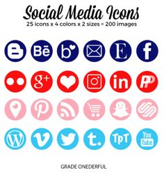 Beautiful Round Social Media Icons (navy, orange, pink, blue): These social buttons are perfect for blogs (wordpress and blogger) as well as TpT product pages. There are two sizes of icons (50 px and 400 px) for a total of 200 icons. The 50 px size is perfect for