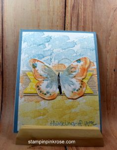 Stampin' Up!  Thinking of  You card made with Watercolor Wings stamp set and designed by Demo Pamela Sadler. See more cards at stampinkrose.com #stampinkpinkrose   #etsycardstrulyheart