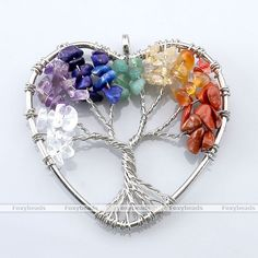 1X Love Heart Tree Of Life Wire Wrap Gemstone Chip Bead Pendant For Necklace Diy
