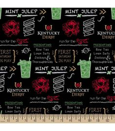 Kentucky Derby Run For The Roses Cotton Fabric