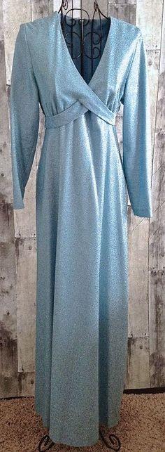 Vintage 1960s Kelly Arden Metallic Maxi Dress Gown Sparkle Light Blue Size 13 #KellyArden