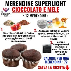For the collection of easy and quick recipes . For the collection of quick and easy recipes, here is this new snack recipe with super light chocolate and apples… Sweet Recipes, Snack Recipes, Dessert Recipes, Snacks, Easy Recipes, Tortilla Sana, Light Cakes, Muffins, Healthy Sweets