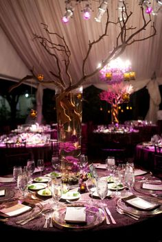 So much purple and gorgeous. #decor #purple #weddings