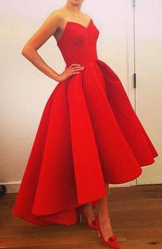 $139--Sexy Red Sweetheart Satin Prom Gowns Hi-Lo Cocktail Dress from www.27dress.com