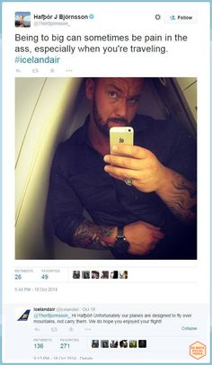 Witty response from IcelandAir on a tweet of 'the Mountain' of Game of Thrones