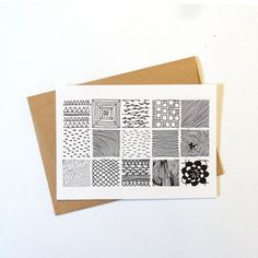 illustrated postcard with black and white by AnnaGrundulsDesign