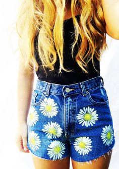 Daisy High Waisted Shorts High Waist Denim Women's Clothing Jean Shorts Summer Hipster Tumblr Fashion Music Festival Wear on Etsy, $30.00