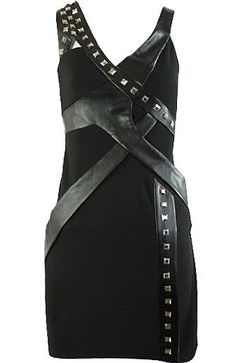 Studs and Leather Dress: Features an asymmetrical strap layout with cutout detail at right strap, shiny stud embellishments trailing down a maze of criss-crossed leather at front, and an alluring body-hugging silhouette to finish.