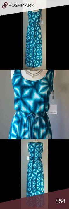 NWT Calvin Klein easy Summer maxi dress This will be your favorite dress this summer! Easy to wear, easy to pack! Beautiful aqua blue print with blouson tank bodice, and elasticized drawstring waist. 95% poly, 5% spandex. Brand new with tag. Smoke free home. Calvin Klein Dresses Maxi