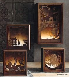 Folkloric Light Boxes Roost Folkloric Light Boxes How about inside an old console TV?Roost Folkloric Light Boxes How about inside an old console TV? Shadow Box Kunst, Shadow Box Art, 3d Cuts, Wood Projects, Woodworking Projects, Vitrine Design, Wood Crafts, Paper Crafts, Diy Lampe