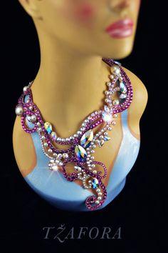 Tzafora - Ballroom dance necklace made with Swarovski.