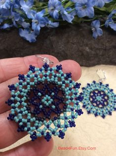 Seed Beaded Earrings Name: Mixed Messages Mandala Beaded image 6 Seed Bead Jewelry, Bead Jewellery, Seed Bead Earrings, Beaded Earrings, Seed Beads, Ear Earrings, Seed Bead Bracelets Tutorials, Beaded Bracelets Tutorial, Beaded Bracelet Patterns