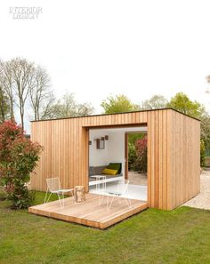 On our list of 100 Big Ideas Firm: Filip Janssens.  Site: Aalst, Belgium.  Idea: Tom Lierman Office of Architecture and Interiors designed Filip Janssens a barnlike residence, and Janssens added a small garden pavilion with an exterior clad in larch planks. The 110-square-foot interior, fully insulated, comprises a tool shed and an airy garden room.