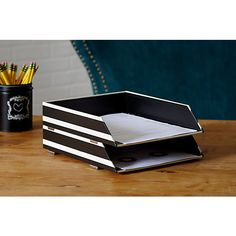 See Jane Work Paperboard Letter Tray 10 H x 12 W x 2 12 D Black Stripe by Office Depot & OfficeMax