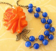 Flower Necklace Statement Necklace Royal Blue Jewelry Bridesmaid Necklace Orange Necklace Double Strand Leaf Necklace Maid of Honor Bib on Etsy, $33.00