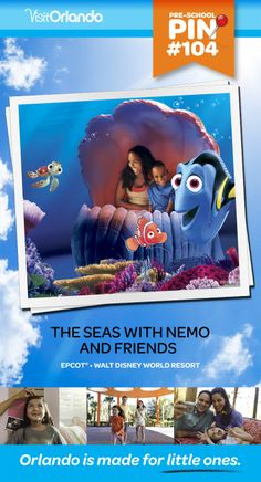 "The Seas With Nemo and Friends - Hop aboard a ""clamobile"" and frolic with a colorful cast of undersea characters in this attraction based on Disney/Pixar's Finding Nemo. No minimum height requirement.   #VisitOrlando #WaltDisneyWorld #FindingNemo #Nemo #Orlando #Preschool #littleones #travel #familytravel"