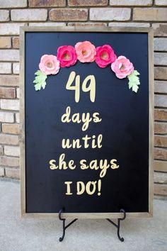 DIY Wedding Day Countdown Chalkboard Sign with Cricut DIY Bridal Shower Decor with Cricut – Wedding Day Countdown Chalkboard Sign Bridal Shower Planning, Bridal Shower Party, Bridal Shower Decorations, Bridal Showers, Wedding Planning, Wedding Decorations, Birthday Decorations, Kitchen Shower Decorations, Bridal Shower Venues
