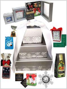Silver Snowflakes Corporate Gourmet Food HolidayTower Basket #BasketsByJill