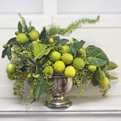 Leafy lime centerpiece designed by Fleuropean Lime Centerpiece, Green Centerpieces, Wedding Flower Arrangements, Floral Arrangements, Wedding Flowers, Green Flowers, White Flowers, Strawberry Leaves, Flowers Today