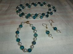"""Teal Green """"Crackle Shock"""" 3 piece set --- $7.00 + $3.00 shipping in the USA"""