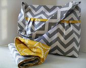 Large Diaper Bag  Made of Chevron and Yellow - Adjustable Strap. $79.00, via Etsy.