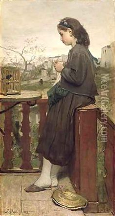"""'Girl knitting on the Balcony"""" by Jacob Henricus Maris, Montmartre 1869"""